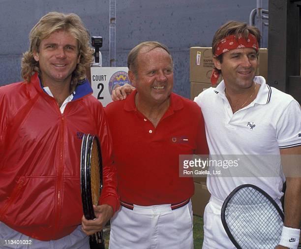Actor Dick Van Patten Nels Van Patten and James Van Patten attend Hollywood 100 ProCelebrity Tennis Classic on June 6 1987 at the Los Angeles Tennis...