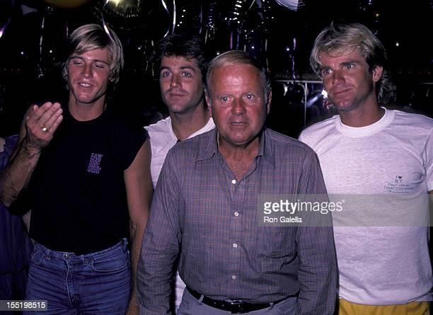 Actor Dick Van Patten Vince Van Patten Jimmy Van Patten and Nels Van Patten attend I Love New York Tennis Tournament on August 27 1983 at Flushing...