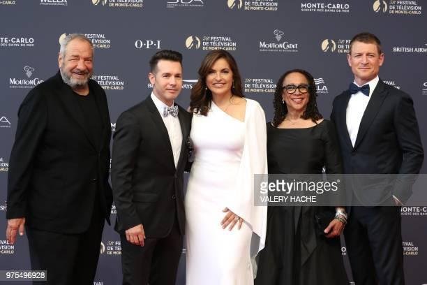 US actor Dick Wolf US actor Jon Seda US actress Mariska Hargitay US actress S Epatha Merkerson and US actor Philip Winchester pose during the opening...