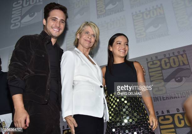 Actor Diego Boneta Actress Linda Hamilton and Natalia Reyes leave the Terminator Dark Fate panel in Hall H of the Convention Center during Comic Con...