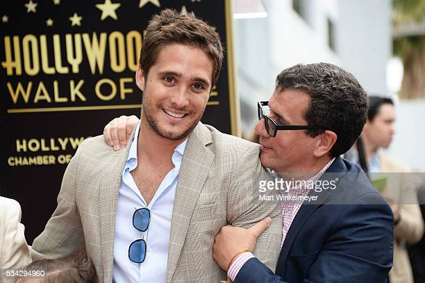 Actor Diego Boneta and Otto Padron attend a ceremony honoring Angelica Maria with a Star on The Hollywood Walk of Fame on May 25 2016 in Hollywood...