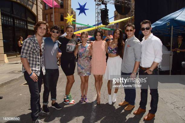 Actor Diego Boneta musician Joe Jonas singer Jordin Sparks actors Sarah Hyland Vanessa Hudgens and Kat Graham and musicians Nick Jonas and Kevin...
