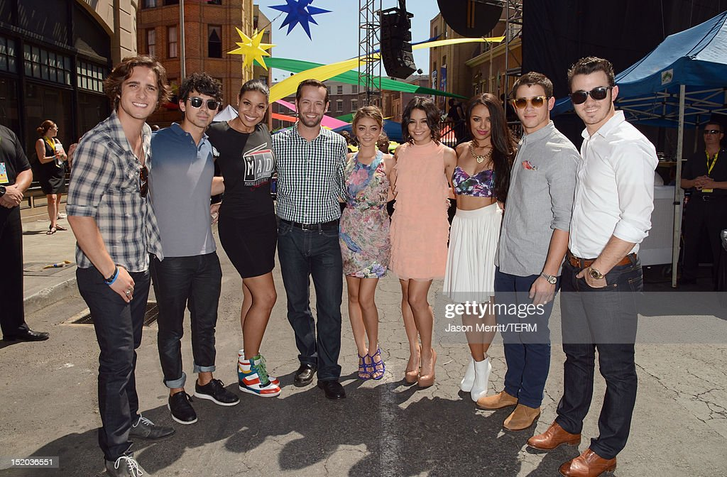 Actor Diego Boneta, musician Joe Jonas, singer Jordin Sparks, actors Sarah Hyland, Vanessa Hudgens and Kat Graham and musicians Nick Jonas and Kevin Jonas attend Variety's Power of Youth presented by Cartoon Network held at Paramount Studios on September 15, 2012 in Hollywood, California.