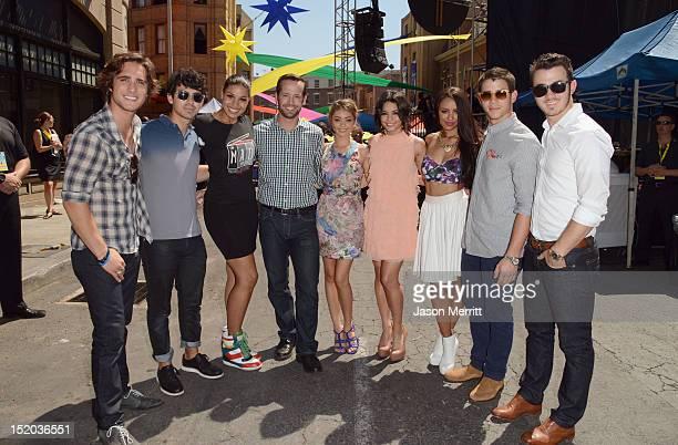 Actor Diego Boneta musician Joe Jonas singer Jordin Sparks actors Sarah Hyland Vanessa Hudgens and Kat Graham and musicians Nick Jonas and Kevin...