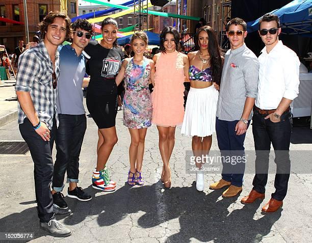 Actor Diego Boneta musician Nick Jonas singer Jordin Sparks actors Sarah Hyland Vanessa Hudgens and Kat Graham and musicians and Kevin Jonas attend...