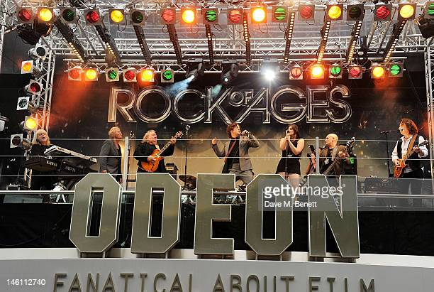 Actor Diego Boneta performs at the European Premiere of 'Rock Of Ages' at Odeon Leicester Square on June 10 2012 in London England
