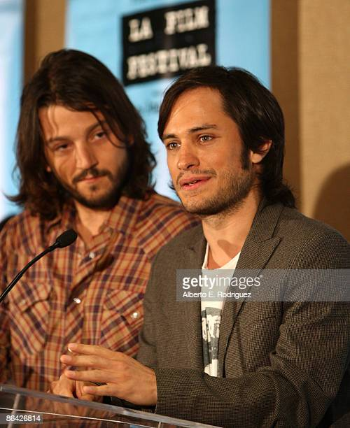 Actor Diego Luna and actor Gael Garcia Bernal attend the Los Angeles Film Festival Lineup announcement breakfast at the Palomar Hotel on May 5 2009...