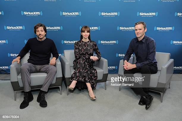 Actor Diego Luna and actress Felicity Jones and anchor Dalton Ross speak during SiriusXM's Town Hall With The Cast Of 'Rogue One A Star Wars Story'...