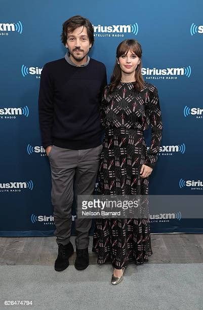 Actor Diego Luna and actress Felicity Jones attend SiriusXM's Town Hall With The Cast Of 'Rogue One A Star Wars Story' Town Hall to air on SiriusXM's...