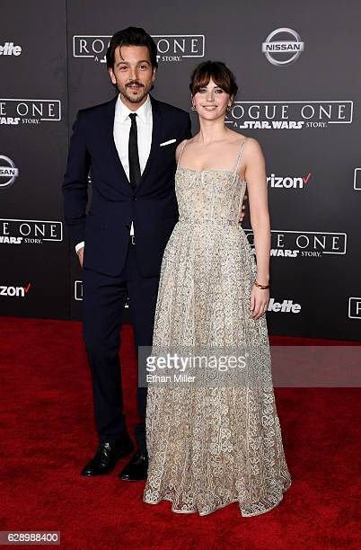 Actor Diego Luna and actress Felicity Jones attend the premiere of Walt Disney Pictures and Lucasfilm's Rogue One A Star Wars Story at the Pantages...