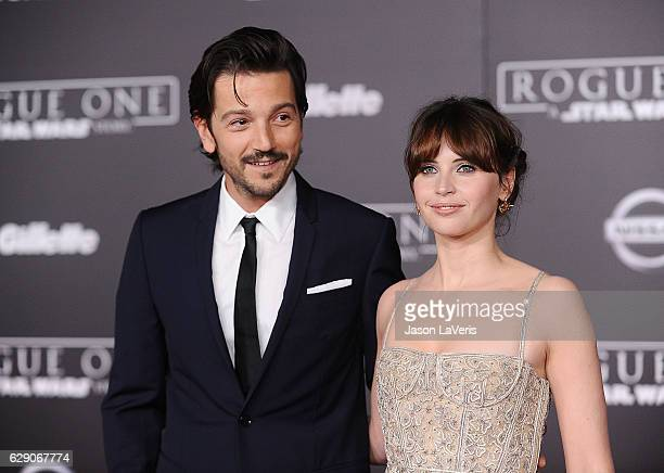 Actor Diego Luna and actress Felicity Jones attend the premiere of Rogue One A Star Wars Story at the Pantages Theatre on December 10 2016 in...
