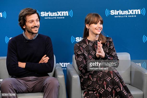 Actor Diego Luna and actress Felicity Jones speak during SiriusXM's Town Hall With The Cast Of 'Rogue One A Star Wars Story' Town Hall to air on...
