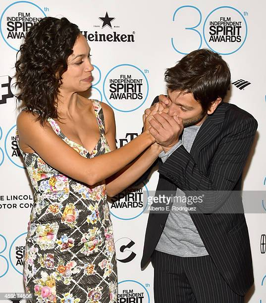 Actor Diego Luna and actress Rosario Dawson attend the 30th Film Independent Spirit Awards Nominations press conference at W Hollywood on November 25...