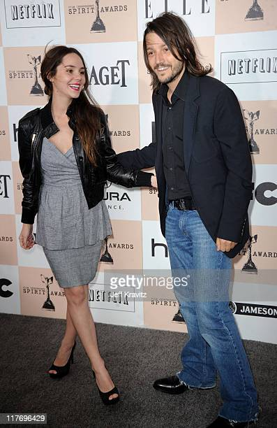 Actor Diego Luna and Camila Sodi arrives at the 2011 Film Independent Spirit Awards at Santa Monica Beach on February 26 2011 in Santa Monica...