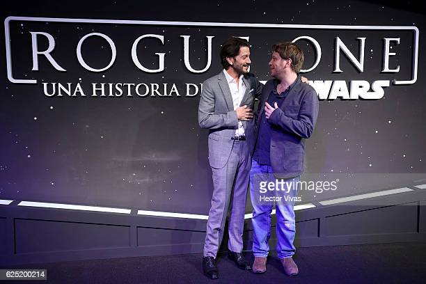 Actor Diego Luna and film director Gareth Edwards during Rogue One A Star Wars Story Mexico City Fan Event Black Carpet at Cinemex Antara on November...