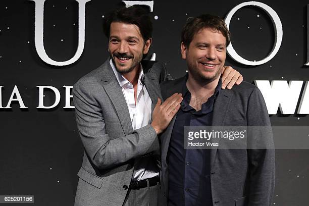 Actor Diego Luna and film director Gareth Edwards pose during the Rogue One A Star Wars Story Mexico City Fan Event Black Carpet at Cinemex Antara on...