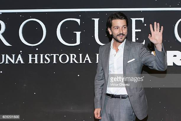 Actor Diego Luna attends the Rogue One A Star Wars Story Mexico City fan event black carpet at Cinemex Antara on November 22 2016 in Mexico City...