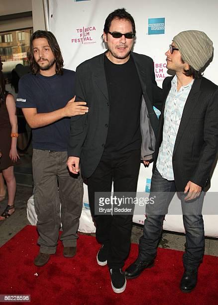 Actor Diego Luna director Carlos Cuaron and actor Gael Garcia Bernal attend the premiere of Rudo Y Cursi during the 2009 Tribeca Film Festival at AMC...