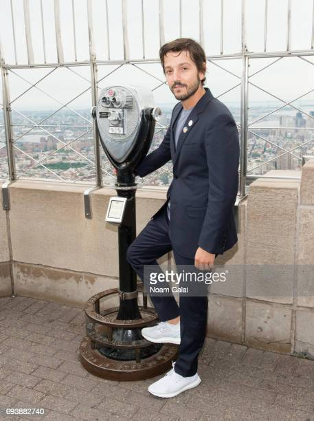 Actor Diego Luna lights The Empire State Building in honor of World Oceans Day at The Empire State Building on June 8 2017 in New York City