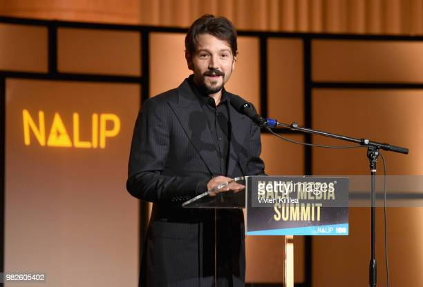 Actor Diego Luna recipient of Outstanding Achievement Award in Film speaks onstage during the NALIP 2018 Latino Media Awards at The Ray Dolby...
