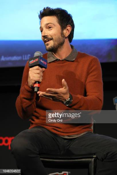 Actor Diego Luna speaks onstage at DreamWorks Tales of Arcadia 3Below panel during New York Comic Con on October 5 2018 in New York City