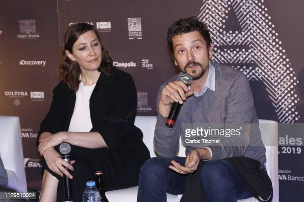 Actor Diego Luna talks during a press conference for the 2019 'Ambulante' Documentary Film Festival at Cinepolis Diana on February 13 2019 in Mexico...
