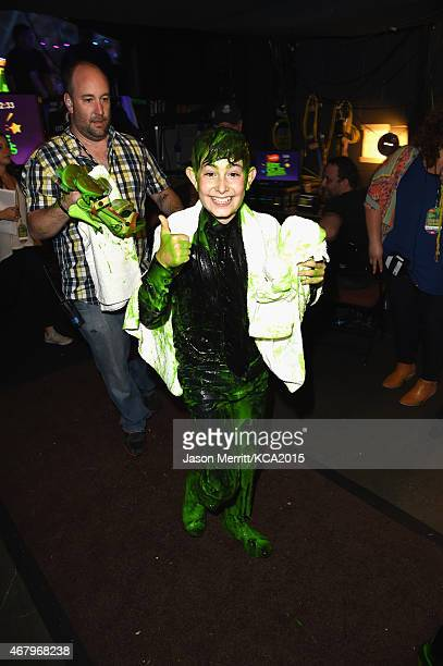 Actor Diego Velazquez after getting slimed onstage attends Nickelodeon's 28th Annual Kids' Choice Awards held at The Forum on March 28 2015 in...