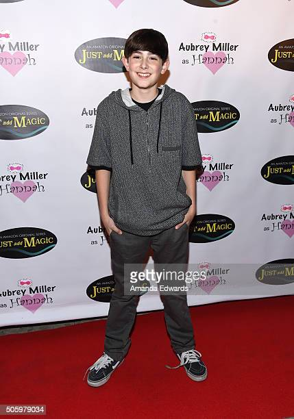 Actor Diego Velazquez arrives at a private screening of Amazon's 'Just Add Magic' at the Chaplin Theater at Raleigh Studios on January 20 2016 in...