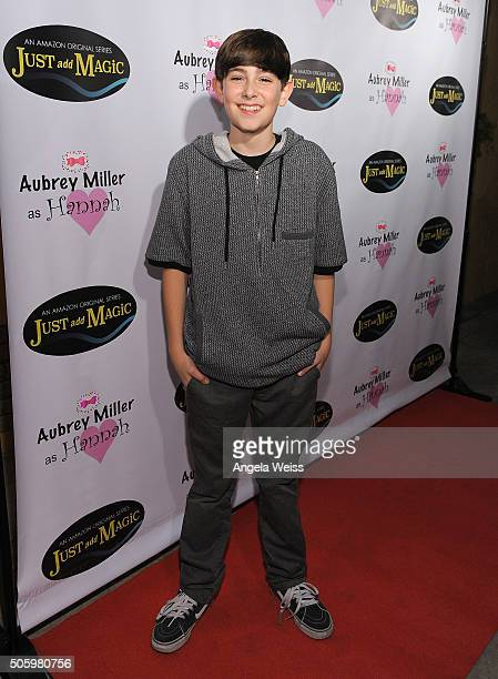 Actor Diego Velazquez arrives to a private screening of Amazon's 'Just Add Magic' at the Chaplin Theater at Raleigh Studios on January 20 2016 in...