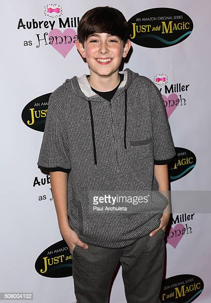 Actor Diego Velazquez attends the private screening of Amazon's 'Just Add Magic' at the Chaplin Theater at Raleigh Studios on January 20 2016 in...