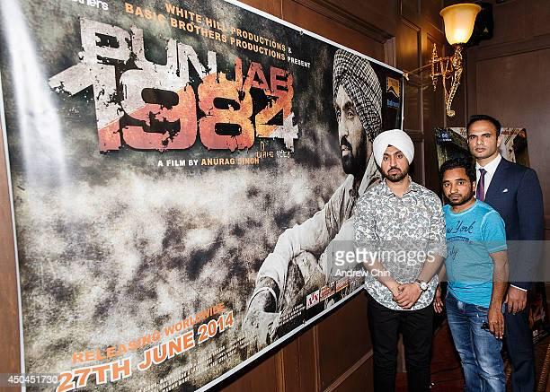 Actor Diljit Dosanjh Actor Rana Ranbir and Producer Manmord Singh Sidhu attends the global launch of 'Punjab 1984' at Royal King Palace on June 11...