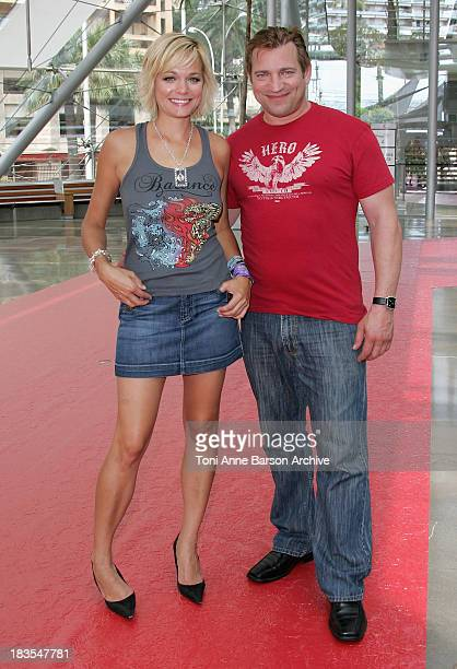 Actor Dimitri Diatchenko attends a photocall promoting the television series 'Indiana Jones' and actress Crystal Allen promotes the television series...