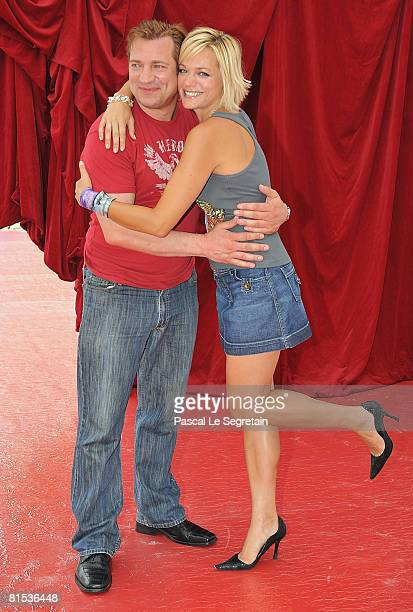 Actor Dimitri Diatchenko attends a photocall promoting the television series Indiana Jones and actress Crystal Allen promotes the television series...