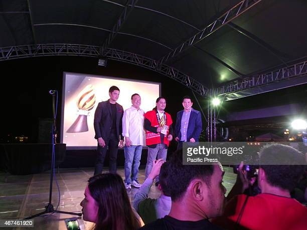 Actor Dingdong Dantes festival CEO and founder Wilson Tieng Lawrence Fajardo who won Best Director and Brillante Mendoza the Festival Director during...