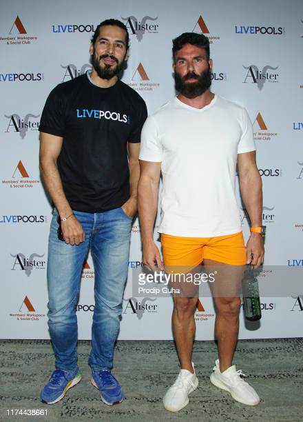 Actor Dino Morea and international personality Dan Bilzerian attend an event to announce Bilzerian's association with sports predictor LivePools and...