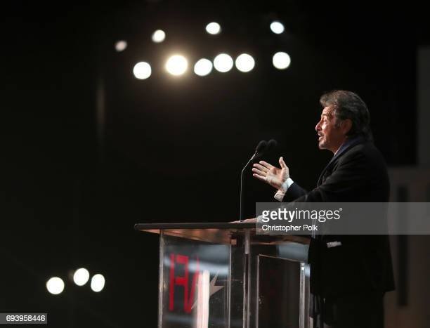 Actor/ Director Al Pacino speaks onstage during American Film Institute's 45th Life Achievement Award Gala Tribute to Diane Keaton at Dolby Theatre...