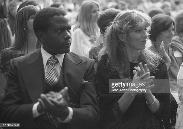 Actor director and author Sidney Poitier with wife actress Joanna Shimkus attend an ERA event hosted by and at the home of Actress Producer Social...