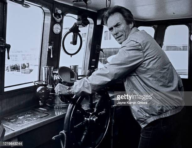 Actor director and producer Clint Eastwood stands in his yacht at the at the Quay on the Croisette during the Cannes Film Festival Cannes France