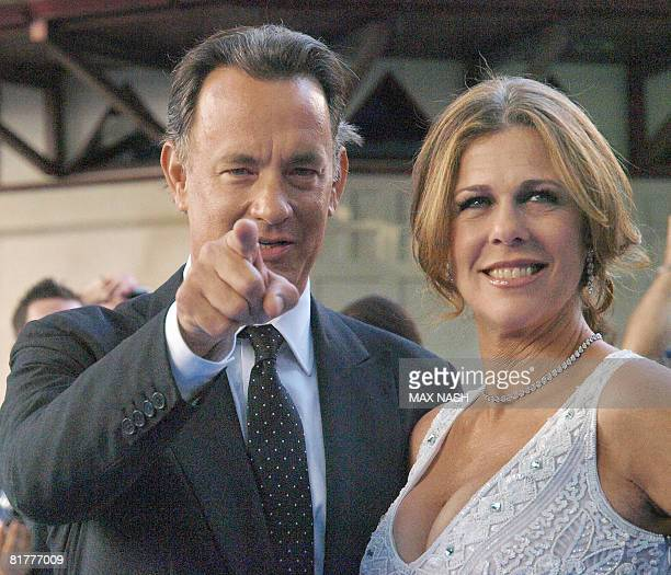 Actor, director, and producer Tom Hanks arrives with his wife Rita Wilson for the World Premiere of his latest film Mamma Mia in London's Leicester...