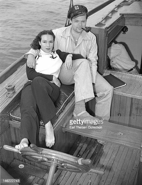 Actor, director and writer Orson Welles and Mexican actress Dolores Del Rio sail to Catalina Island off the coast of California circa 1940.