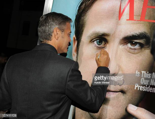 """Actor/ Director George Clooney attends the Premiere of Columbia Pictures' """"The Ides Of March"""" held at the Academy of Motion Picture Arts and..."""