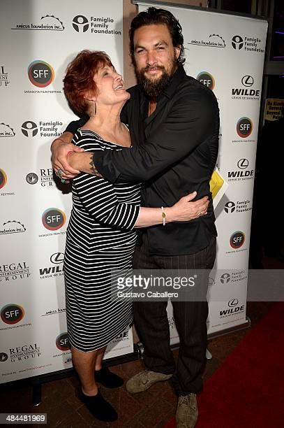 Actor /director Jason Momoa and his mother Coni Momoa arrive to a screening of 'Road to Paloma' during the Sarasota Film Festival at Regal Cinemas...