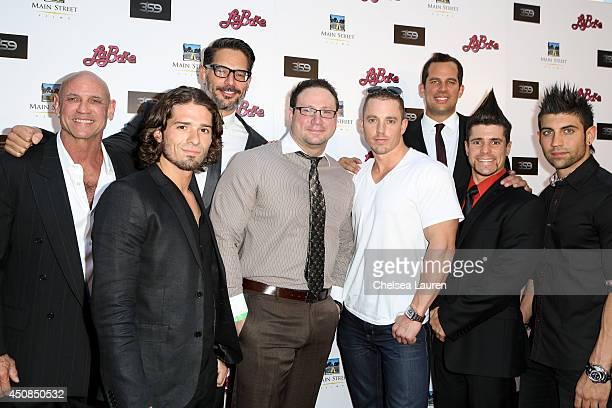 Actor / director Joe Manganiello and producer Nick Manganiello arrive with the La Bare dancers at the 'La Bare' premiere on June 18 2014 in Los...