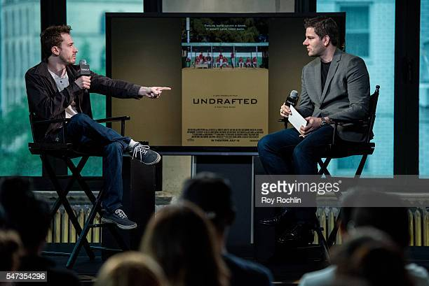 Actor/ Director Joseph Mazzello discusses Undrafted with Moderator Tim Morehouse during AOL Build at AOL HQ on July 14 2016 in New York City