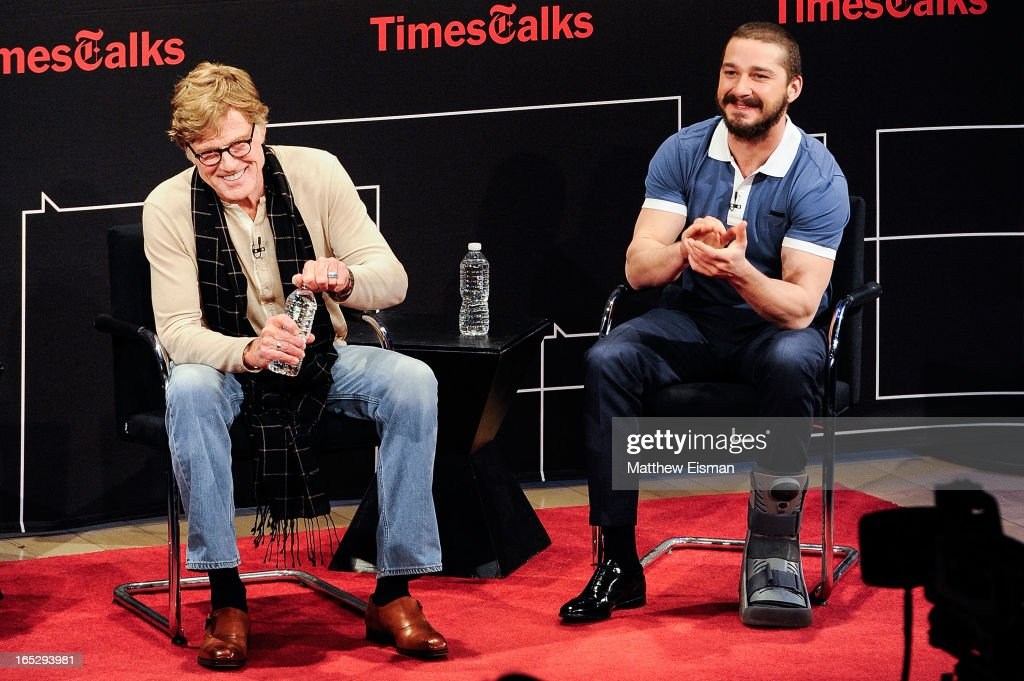 Actor/ director Robert Redford (L) and actor Shia LaBeouf attend TimesTalks Presents: 'The Company You Keep' at TheTimesCenter on April 2, 2013 in New York City.