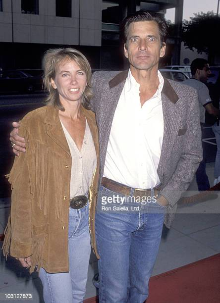 Actor Dirk Benedict and wife actress Toni Hudson attend the 'City Slickers II The Legend of Curly's Gold' Beverly Hills Premiere on June 8 1994 at...