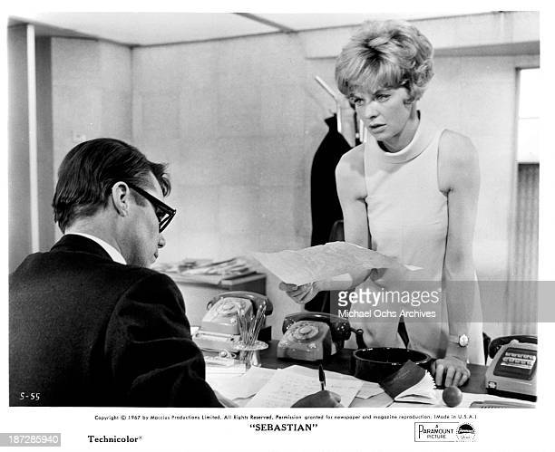 Actor Dirk Bogarde and actress Susannah York on set of the Paramount Picture movie Sebastian in 1968