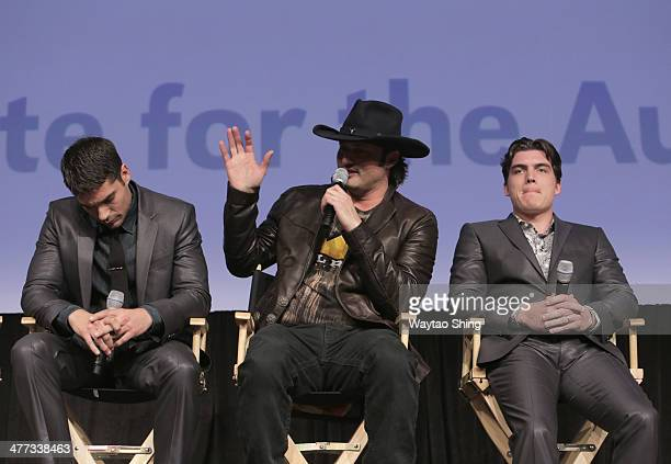 Actor DJ Cotrona filmmaker Robert Rodriguez and actor Zane Holtz speak onstage at From Dusk Till Dawn The Series Pilot Photo Op and QA during the...