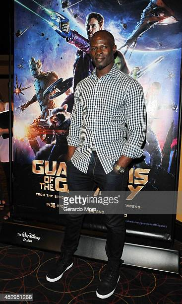 Actor Djimon Hounsou attends 'Gurdians of the Galaxy' screening at AMC Downtown Disney on July 30 2014 in Lake Buena Vista Florida