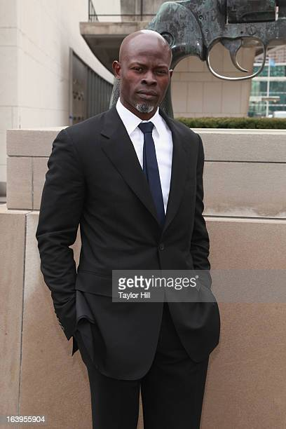 Actor Djimon Hounsou attends Oxfam International's Arms Control Campaign Launch With Djimon Hounsou at the Knotted Gun sculpture at the United...